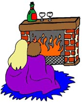 couple sitting in front of fireplace